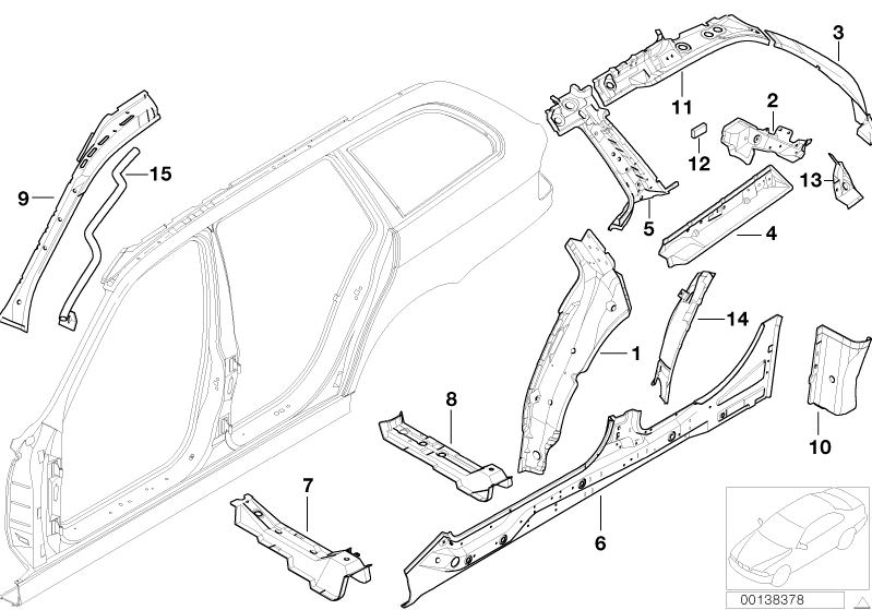 Bmw Single Components For Body Side Frame 520d E39