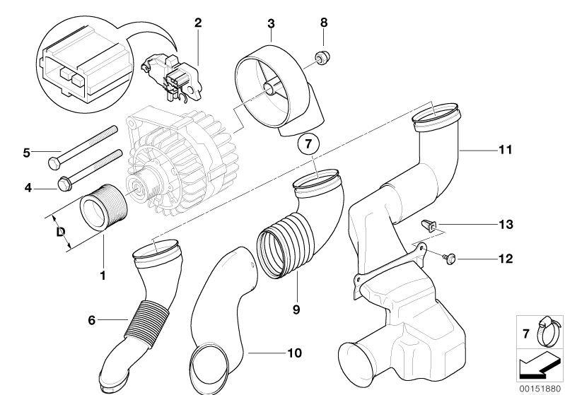 Bmw Alternator Single Parts 120a Bosch 520i E39
