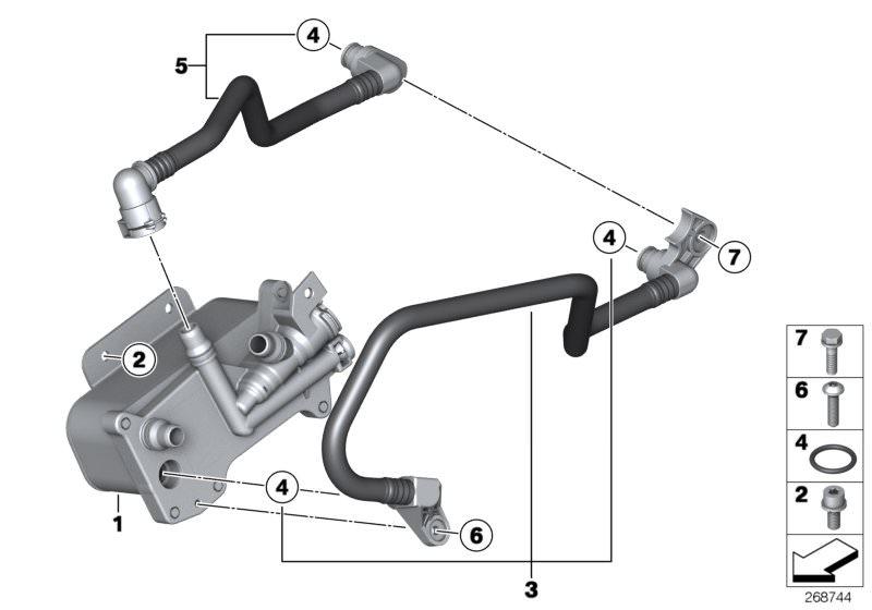 BMW Heat exch /transmission oil cooler line 520i F10