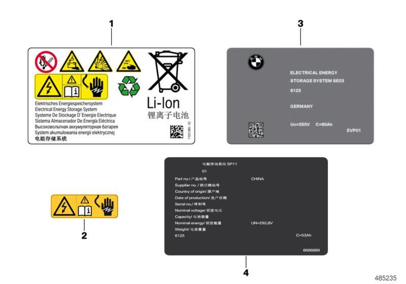 BMW High-voltage accumulator, info labels 225xe F45 | HUBAUER-Shop de