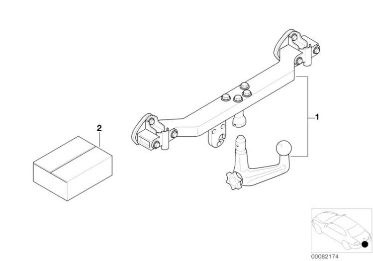 anh ngerkupplung mit festem kugelkopf bmw 6er e24 stahl hubauer. Black Bedroom Furniture Sets. Home Design Ideas