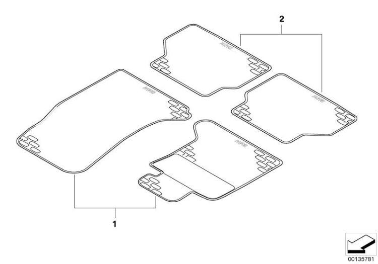 original bmw kit floor mats rubber rear 6er f06 schwarz