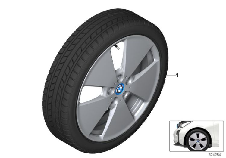 Wheel & tire, winter, light alloy, Number 01 in the illustration