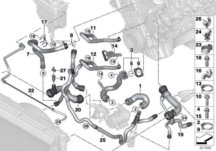 Original Bmw Hose Heat Exchanger Engine Oil 7er F01 Hubauer Shop De