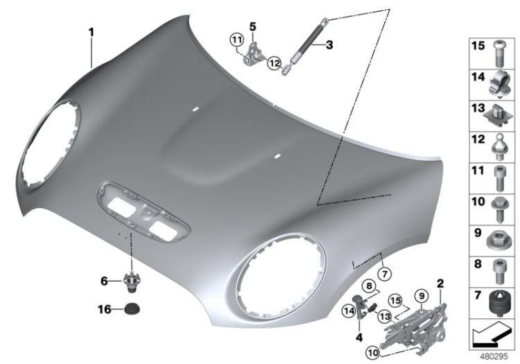 NEW GENUINE BMW ENGINE HOOD//MOUNTING PARTS ADJUSTER 51767183752