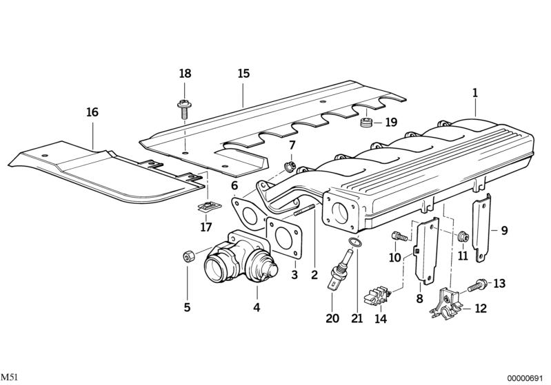 Original BMW Temperature sensor, intake air (11613449116)