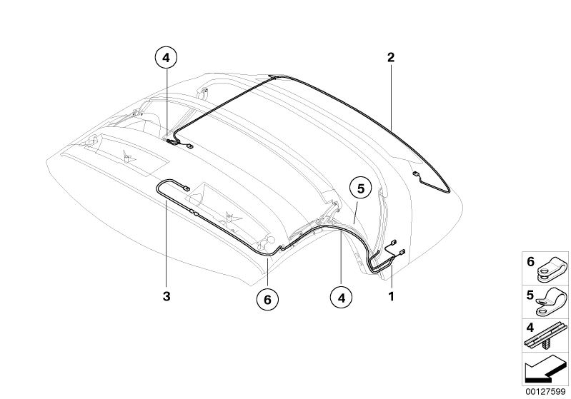 Original BMW Wiring harness, rear window heating (54347056281) on