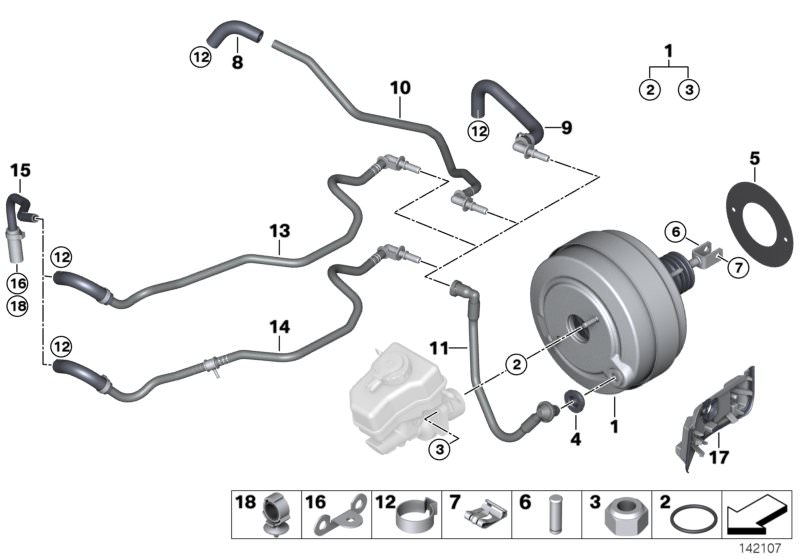 BMW Genuine Power Brake Unit Depression Vacuum Pipe 323i 325i 325xi 325xi
