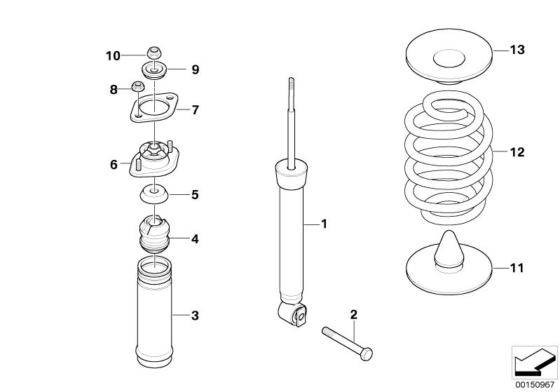 BMW Genuine Rear Additional Shock Absorber Self-Locking Hex Nut 33526773882