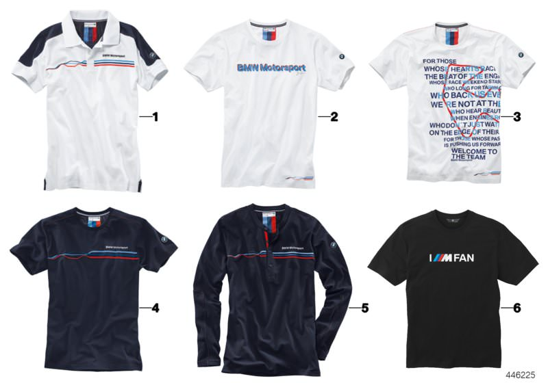 db3ec3d5 Original BMW Motorsport T-shirt, men, Fan WHITE, XL. Number 02 in the  illustration