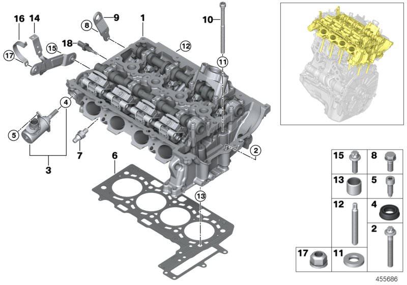 Original BMW Temperature sensor, cylinder head (13628649765)