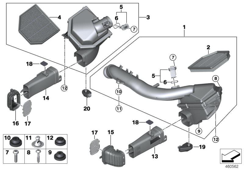 BMW Genuine Intake Silencer Screw 4 x 16 07129907551