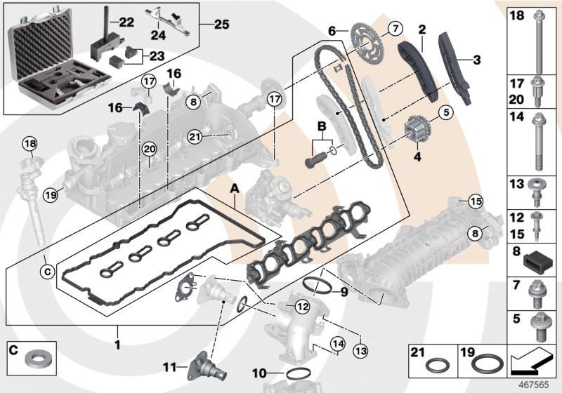 Original Bmw Reparatursatz Offene Steuerkette Oben X1 F48 Value Line