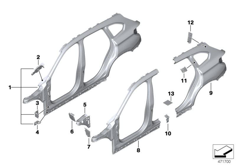 BMW E84 X1 Side Seal Support Rocker Panel Left