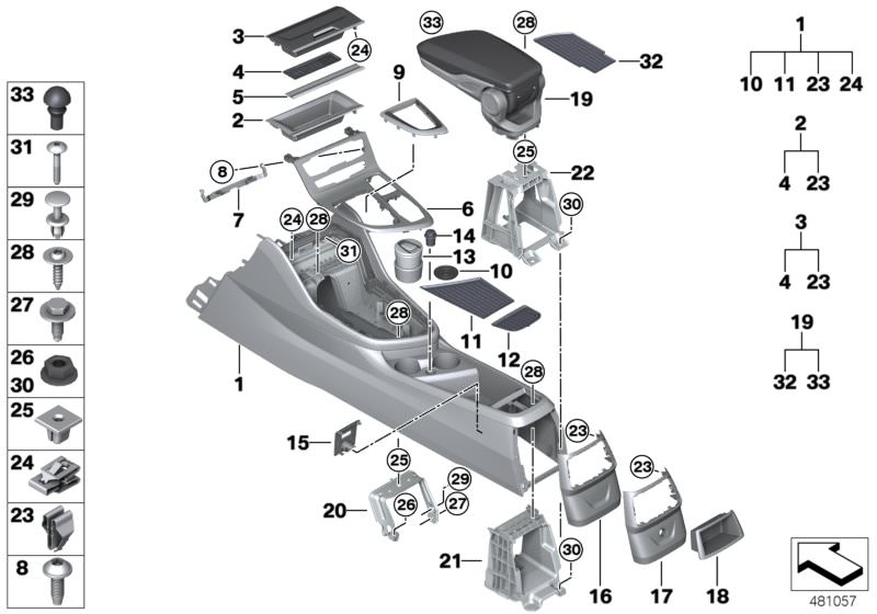 Orig BMW 3er E46 Fach Ablagefach Mittelkonsole hinten Münzfach Schwarz 8225377
