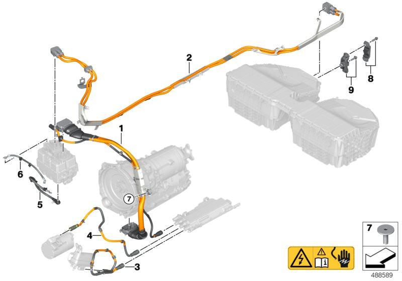 Original BMW High-voltage wiring harness SLE- EME (61126823572) on