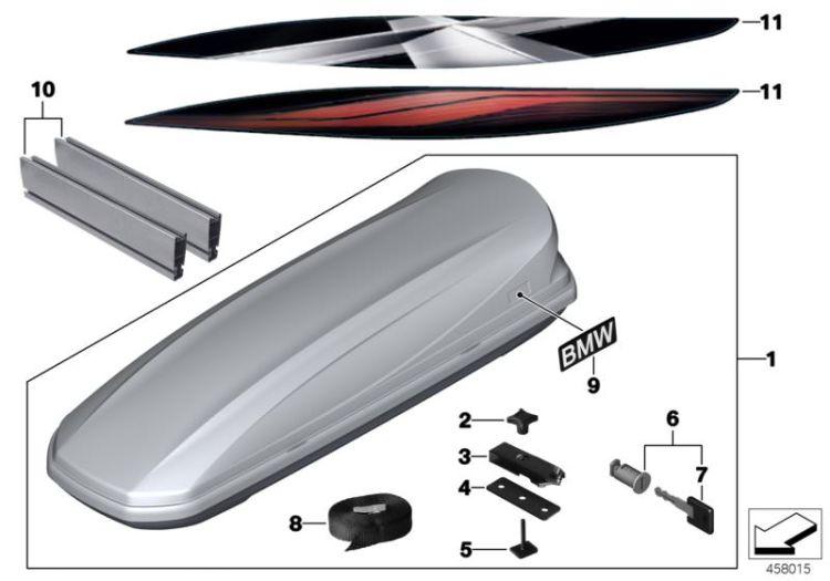 top original bmw dachbox 320 titansilber 320 liter ebay. Black Bedroom Furniture Sets. Home Design Ideas