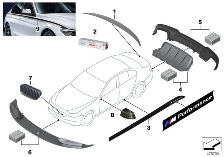 Original BMW Rear spoiler, carbon M Performance (51622163505)