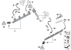 Original BMW High pressure pipe 1-4 (13537547601)