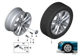 Original BMW Disc wheel, light alloy, bright-turned 7,5JX17   ET:43 (36116850152)