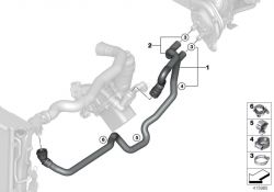Original BMW HOSE F RADIATOR AND ENGINE RETURN  (64219364537)